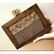 Bollywood Style Luxury Zari Handcrafted Wooden Evening Clutch Bag