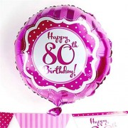 Perfectly Pink Happy 80th Birthday 46cm Foil Balloon