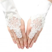 Girls Ivory Pearl Sequin Coiled Lace Satin Communion Flower Girl Gloves
