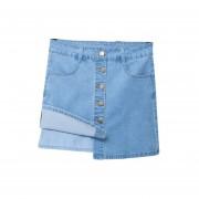 EY Una Línea Single-Breasted Denim Faldas Pantalones Vaqueros De Verano Mujer Falda Corta-Luz Azul
