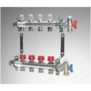 """Distribuitor/Colector 1"""" din OL inox cu robineti termostatici si debitmetre - 7 cai"""