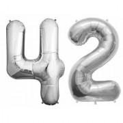 Stylewell Solid Silver Color 2 Digit Number (42) 3d Foil Balloon for Birthday Celebration Anniversary Parties