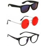 SO SHADES OF STYLE Round, Wayfarer, Retro Square Sunglasses(Black, Red, Clear)