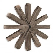 umbra Ribbonwood Wall Clock, Walnut Stained Decorative Quiet, Non-Ticking and Silent, Easy to Read Round-for Home, Office, Kitchen, Bedroom, Scandinavian Style Living Room, Aged