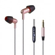 MW-204 Braided Wire-controlled Subwoofer Wired Headphones - Rose Gold