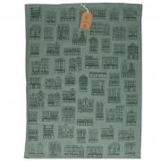 Dille&Kamille Torchon, coton bio, gris-vertà motif de façades noires, 50 x 70 cm