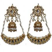 Lucky Jewellery Designer White Color Gold Plating Kundan Pearl Earring For Girls & Women