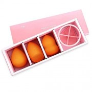 Cgqjingqi Soft Kit de hojaldre de calabaza facial 3 + 1 herramienta de belleza de esponja de maquillaje húmeda y seca conjunto de huevo de belleza de calabaza Esponja de belleza (color: rojo) Belleza