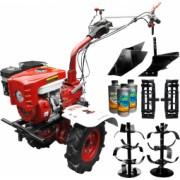 Pachet motocultor Media Line MS 7500 CFL motor 7CP model 2019 Far freza segmentabila 60-90cm roti cauciuc rarita fixa Remorca + Cadou 1l