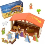 Toy Playset, 14-piece Christmas Holiday Traditional Nativity Kids Toys Playsets