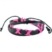 Antiformal Pink eX'ed Out Black Thread-Woven Faux Leather Bracelet