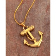 Dare by Voylla Royal Pendants Anchor Steel Pendant With Chain