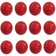 EKRS Smart PU Dimple Cricket Bowing Machine Ball Red Colour Set of 12 Pcs