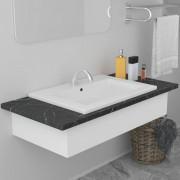 vidaXL Мивка за вграждане, 61x39,5x18,5 см, керамична, бяла