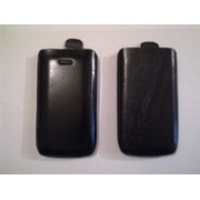 Черен калъф за Nokia E7 от естествена кожа
