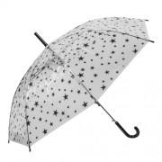 Clayre & Eef JZCUM0004 Gyerek esernyő 90x55cm, átlátszó-fekete csillagos