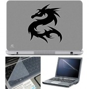 Finearts Laptop Skin - Black Dragon With Screen Guard And Key Protector - Size 15.6 Inch