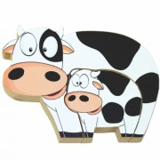 Quebra Cabeça Zoo Filhotes Madeira - Vaca - Branco - 73722 - Maninho Artesanatos