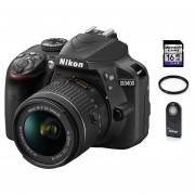 Camara Reflex Nikon D3400 Lente 18-55mm + 16gb Sd + Control + Filtro Uv. Negro