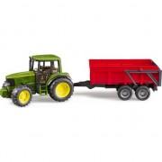 John Deere 6920 tractor cu o remorcă roșie (02057)