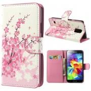 Bolsa em Pele para Samsung Galaxy S 5 - Flores Cor-de-Rosa