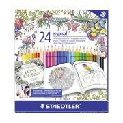 Creioane colorate Staedtler Noris Club Johanna Basford 24 culori / set ST-144-C24JB