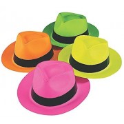 Fun Express Educational Products Neon Color Plastic Gangster Hats (12 Pack)