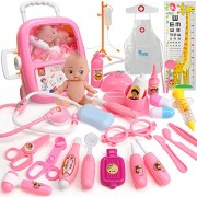 Xst Kids Doctor Toy Set Baby Suitcase Tool Box Medical Kit Pretend Play Simulation Dentist Nurse With Doll Costume Stethoscope Gift - Pink, 31 Pieces