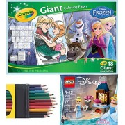 Disney Frozen Girls Play-Set Crayola Giant Sized Pages Mega Poster Coloring Sheets 12 Pack Colored Pencils + Cinderella's Kitchen Set 30551 with Princess Mini Figure to Enchanted Ball Play Fun Set