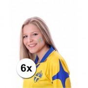 Bellatio Decorations Zweedse vlag tattoeages 6 stuks - Verkleedgezichtdecoratie