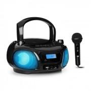 Auna Roadie Sing CD Radiocasetera Radio FM Espectáculo de luces Reproductor de CD Micrófono negro