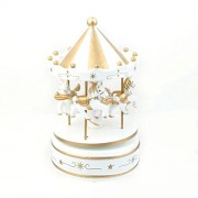 ULTNICE Wooden Merry-Go-Round Carousel Wind Up Music Box Kids Gift (White)