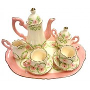 Childrens 10 Piece Mini Tea Set for Two - Pink Garland