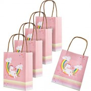 Maxdot 5 Pack Unicorn Paper Bags Gift Bag Party Favor Bags with Handles for Kids Birthday and Parties