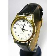 Pánské elegantní zlaté hodinky Foibos 445.1 na černé kůži - elegantní