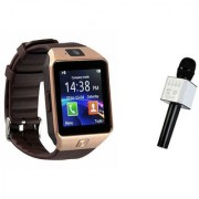 Zemini DZ09 Smart Watch and Q9 Microphone Karrokke Bluetooth Speaker for OPPO FIND 7A(DZ09 Smart Watch With 4G Sim Card Memory Card| Q9 Microphone Karrokke Bluetooth Speaker)
