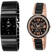 IIK Collection Black Square With RoseGolden Black Analog Combo Watch For Men Women Cupple Pack Of 2 Watch