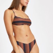 River Island Womens Brown stripe square neck tie back bikini top (16)