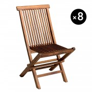 Happy Garden Lot de 8 chaises de jardin en teck huilé LOMBOK
