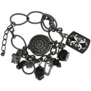 Armband antiek oud zilverkleur met gotisch hangers met kristal steentjes