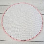 Dolly Wit Speelkleed met Grijze Dots en Roze Pompoentjes Dolly-150 cm