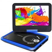 """COOAU 9.8"""" Portable DVD Player with 7.5"""" Swivel Screen, 5 Hour Rechargeable Battery, Support USB/SD Card, Direct Play in Formats MP4/AVI/RMVB/MP3/JPEG, Blue"""