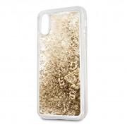Guess Glitter Hard Case - дизайнерски кейс с висока защита за Apple iPhone X (златист)