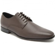 Hats Off Accessories Genuine Leather Brown Derby Shoes with Textured Vamp