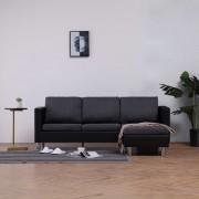 vidaXL 3-местен диван с възглавници, черен, изкуствена кожа