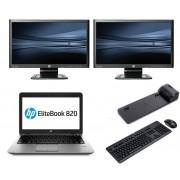 HP Elitebook 820 G1 - Intel Core i5 - 4GB - 320GB HDD + Docking + Dual 2x 23'' Widescreen Full HD Monitor
