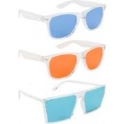 NuVew Wayfarer, Retro Square Sunglasses(Blue, Orange, Green)