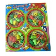 PLAY DESIGN Fish Catching Game with 4 Pools,32 Small Multicolored Fishes,4 Magnetic Fishing Rods(Battery Operated) (2-4 Players Game)