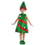 Xiting Costume Christmas Xmas Tree Child Sleeveless Dress, Toddler Clothes Set (110(6-7T))