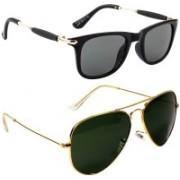 Poloport Wayfarer, Aviator Sunglasses(Golden, Green)